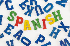 Spanish. Series modern languages: Word Spanish in colorful letters on white background Royalty Free Stock Photo