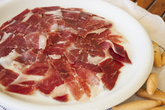 Spanish serrano ham Royalty Free Stock Photos