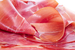 Spanish serrano ham. Closeup of some slices of spanish serrano ham Stock Photos