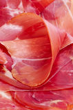Spanish serrano ham. Closeup of some slices of spanish serrano ham Stock Images