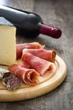 Spanish serrano ham, olives and sausages Royalty Free Stock Photography