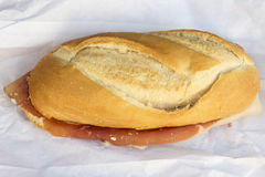 Spanish serrano ham sandwich Royalty Free Stock Photos