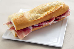 Spanish serrano ham sandwich Royalty Free Stock Images