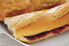 Spanish serrano ham sandwich Stock Image