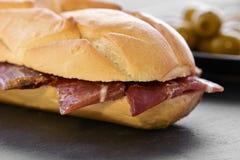 Spanish serrano ham sandwich Royalty Free Stock Photos