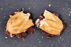 Spanish serrano ham sandwich Stock Photos
