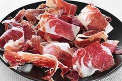 Spanish serrano ham served as tapas Royalty Free Stock Images