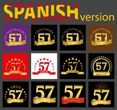 Spanish set of number fifty-seven 57 years. Set of number fifty-seven 57 years celebration design. Anniversary golden number template elements for your birthday vector illustration