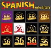 Spanish set of number fifty-six 56 years. Set of number fifty-six 56 years celebration design. Anniversary golden number template elements for your birthday vector illustration