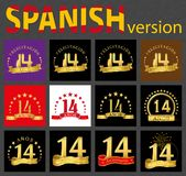 Spanish set of number fourteen 14 years. Set of number fourteen 14 years celebration design. Anniversary golden number template elements for your birthday party stock illustration