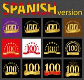 Spanish set of number one hundred 100 years. Set of number one hundred 100 years celebration design. Anniversary golden number template elements for your vector illustration