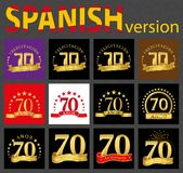 Spanish set of number seventy 70 years. Set of number seventy 70 years celebration design. Anniversary golden number template elements for your birthday party stock illustration