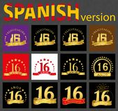 Spanish set of number sixteen 16 years. Set of number sixteen 16 years celebration design. Anniversary golden number template elements for your birthday party stock illustration