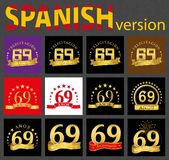 Spanish set of number sixty-nine 69 years. Set of number sixty-nine 69 years celebration design. Anniversary golden number template elements for your birthday royalty free illustration