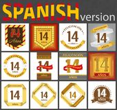Spanish set of number 14 templates. Spanish set of number fourteen years 14 years celebration design. Anniversary number template elements for your birthday royalty free illustration