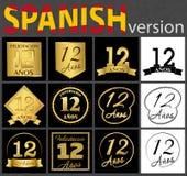 Spanish set of number 12 templates stock illustration