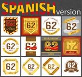 Spanish set of number 62 templates stock illustration