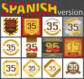 Spanish set of number 35 templates stock illustration
