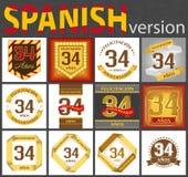 Spanish set of number 34 templates royalty free illustration