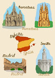 Spanish sights in watercolor Stock Images