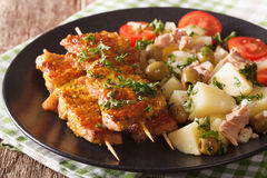 Spanish skewers Pinchos Morunos and potato salad with tuna close Royalty Free Stock Photography