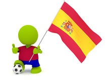 Spanish Soccer. Illustration of a man in a Spanish soccer jersey with a ball holding a flag. Part of my cute green man series Stock Images