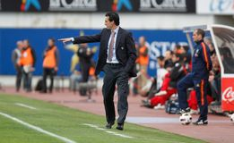 Unai Emery spanish soccer coach. Spanish soccer coach and former player Unai Emery seen during a match in Mallorca. He is the current manager of French club Stock Photography