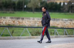 Jose Luis Oltra spanish soccer coach gesturing at training facilities. Spanish soccer coach and manager Jose Luis Oltra gestures walking in the Mallorca soccer Stock Photos
