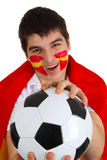 Spanish soccer fan. Young spanish soccer fan on white bakcground Stock Images