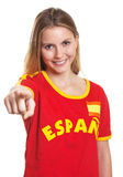 Spanish Soccer Fan Pointing At Camera Royalty Free Stock Photography