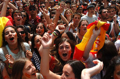 Spanish soccer fans Royalty Free Stock Photo