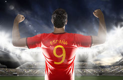 Spanish soccer player in the stadium Royalty Free Stock Photo