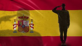 Spanish soldier silhouette saluting against national flag, military respect. Stock footage stock video footage