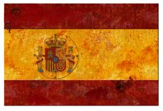 Spanish Spain Flag Grunge Tin. Sign Football Team Club Rustic Rusted Metal Old Vintage Retro stock photo