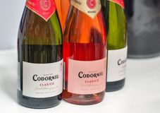 Kyiv Wine Festival by Good Wine in Ukraine. Spanish sparkling wines Codorniu closeup at Kyiv Wine Festival booth. 77 winemakers from around the world took part stock photo