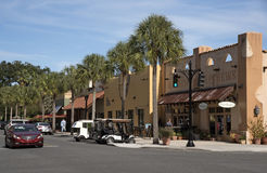 Spanish Springs a small town in Florida USA. Spanish Springs town center Florida USA - October 2016 - Town center shops along a palm lined street Royalty Free Stock Photography