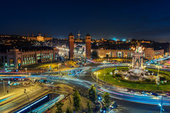 Spanish Square aerial view in Barcelona, Spain Stock Photos