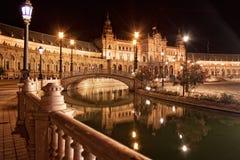 Spanish Square (Plaza de Espana) in Sevilla at night, Spain Royalty Free Stock Image
