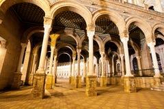 Spanish Square (Plaza de Espana) in Sevilla at night, Spain Stock Image