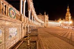 Spanish Square (Plaza de Espana) in Sevilla at night, Spain Royalty Free Stock Photos