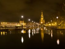 Spanish Square Plaza de Espana in Sevilla at night, Spain. It is a landmark example of the Regionalism Architecture. March, 2018 Royalty Free Stock Image