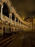 Spanish Square Plaza de Espana in Sevilla at night, Spain. It is a landmark example of the Regionalism Architecture. royalty free stock image