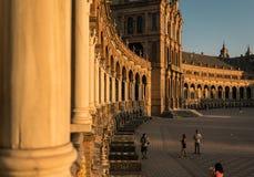 Spanish Square Plaza de Espana in Sevilla at sunset, Spain. royalty free stock image