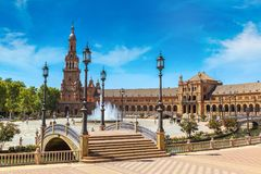 Spanish Square in Sevilla. Spanish Square & x28;Plaza de Espana& x29; in Sevilla in a beautiful summer day, Spain royalty free stock photography
