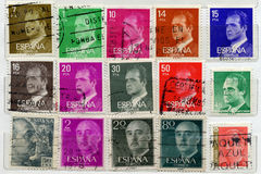 Spanish Stamps. Range of Spanish postage stamps stock photography