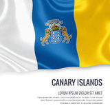 Spanish state Canary Island flag. Royalty Free Stock Images