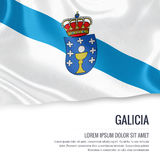 Spanish state Galicia flag. Spanish state Galicia flag waving on an  white background. State name and the text area for your message Stock Images