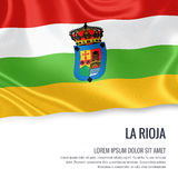 Spanish state La Rioja flag. Spanish state La Rioja flag waving on an  white background. State name and the text area for your message Royalty Free Stock Image