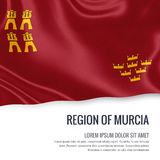 Spanish state Region of Murcia flag. Spanish state Region of Murcia flag waving on an  white background. State name and the text area for your message Royalty Free Stock Image