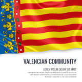 Spanish state Valencian Community flag. Spanish state Valencian Community flag waving on an  white background. State name and the text area for your message Stock Images